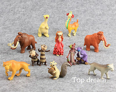 12pcs Ice Age Buck Ellie Scrat Dinosaur Action Figure Toy Model Doll Cake Topper