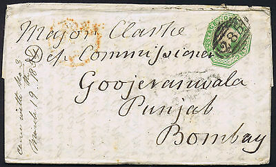 1854 1/- Embossed Exeter Goojeranwala India with extensive contents Cat. £1350
