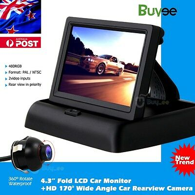 "HD Car Rear View Kit Reversing Camera 170° Waterproof +Foldable 4.3"" LCD Monitor"