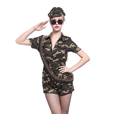 Army Girl Women Outfit  Soldier Fancy Costume Camo Combat Military Commando Hat