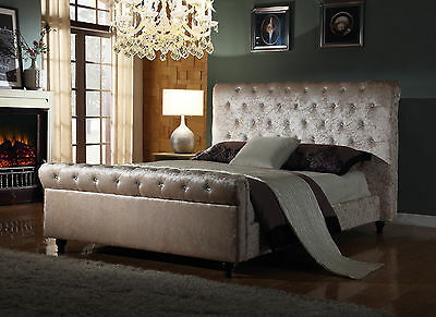 Crushed Velvet Fabric Bed Frame Selina Cream 4ft6inch, Double Size New 2016