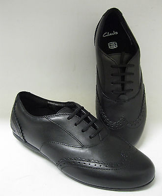 Sale Clarks Girls Shoes Junior Lace Up Brogue 'Dance Honey' Black Leather