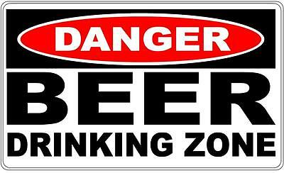 Danger Sign Beer Drinking Zone- Perfect for Bar Gift Pool Room Man Cave