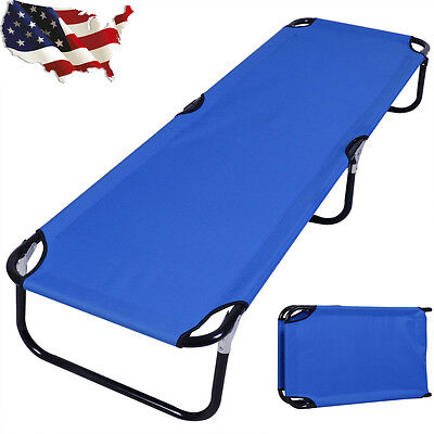 Blue Folding Camping Bed Outdoor Portable Military Cot Sleeping Hiking Travel M