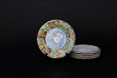 "Set of 6 Dinner Plates Gien China Evasion Medium Sized 8 7/8"" In Box"