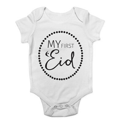 My First Eid Muslim Festival Celebration Cute Boys & Girls Baby Vest Bodysuit