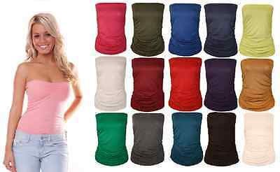 New Women Ladies Ruched Bandeau Boob Tube Vest Crop Bra Top Lot All Sizes