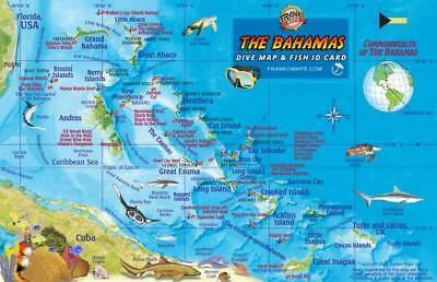 The Bahamas Map & Coral Reef Creatures Guide Laminated Fish Card Franko Maps