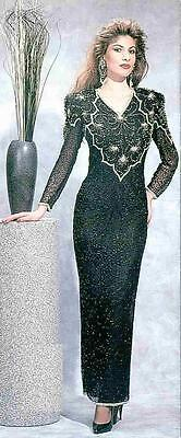 Jasdee Vintage Beaded Gown Long Sheer Sleeve V Neck On Silk Style 2098