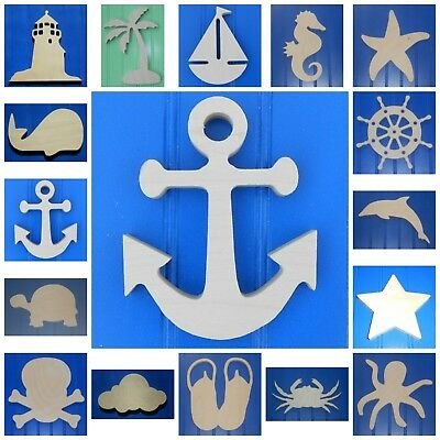 """Wooden Shapes Nautical 6"""" Size Unpainted Wood Beach Pirate Sailing Wall Decor"""