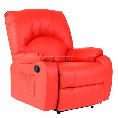 FoxHunter Leather Massage Cinema Recliner Sofa Chair Armchair Heat MLS-03 Red