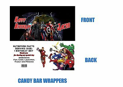 Avengers Candy Bar Wrappers, Avengers, Candy Bar Wrappers, Birthday, Superhero