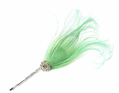Mint Green Silver Peacock Feather Hair Clip Fascinator Headpiece Vintage 1920s 8