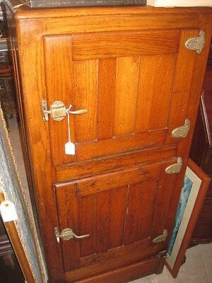 Antique 2 Door Oak Ice Box