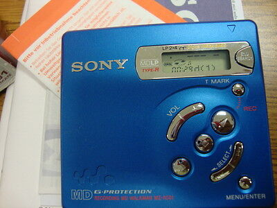 Sony Minidisc MZ-R501 MD Walkman-Blue WITH BOX, MANUAL N CHARGER POWER USED