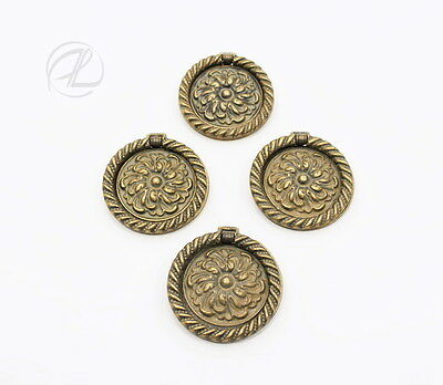 Furniture Hardware Dresser Pulls Handles SET 4 Antique Brass Round 2 ½ Diameter