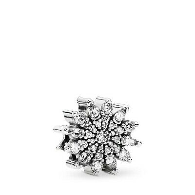 Authentic Pandora S925 Ale silver #791764cz Ice Crystal slide Bead Charm  NWOT