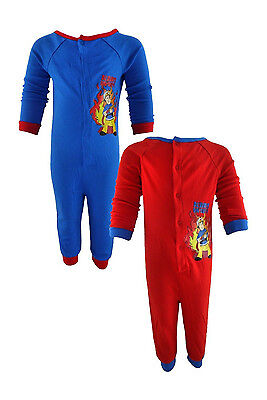 Fireman Sam Boys 100% Cotton All in One Sleepsuit Pjs in Red or Blue - 2 Years
