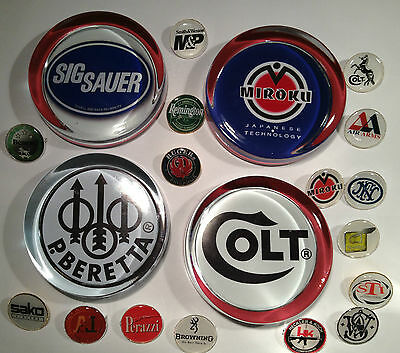 Gun Company Paperweights & Silver Plated Badges: Colt, Beretta, Perazzi + More
