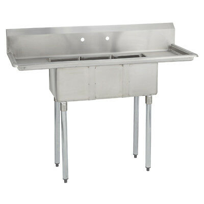 (3) Three Compartment Commercial Stainless Steel Sink 54 x 20 G