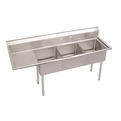 (3) Three Compartment Commercial Stainless Steel Sink 44.5 x 20 G