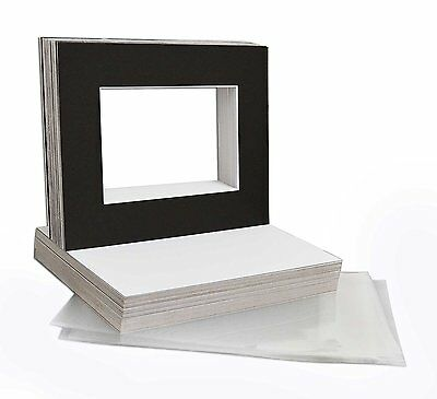 "25 8""x10"" Black Picture Mat Set White Core Bevel 5""x7"" Photos Backers & Bags"