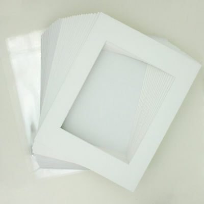 "50 11""x14"" Matte White Picture Mat Set White Core 8""x10"" Photos Backers & Bags"
