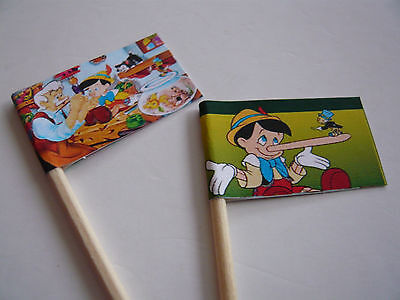 20 Cupcake Flags/toppers - Pinocchio Childrens Birthday Party