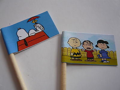 20 Retro/vintage Cupcake Flags/toppers - Peanuts Snoopy Childrens Birthday Party