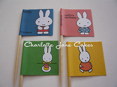 12 or 20 CUPCAKE FLAGS/TOPPERS - MIFFY CHILDREN'S BIRTHDAY PARTY