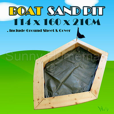 Boat Sandpit Kids Children Play Toy Wooden Timber Sand Box Pit Boat Fun