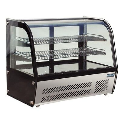 Refrigerated Cold Countertop Curved Display Glass Cabinet 100Lt Polar Cake Sushi