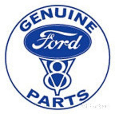 Ford Genuine Parts V-8 Car Round Tin Sign - 12x12
