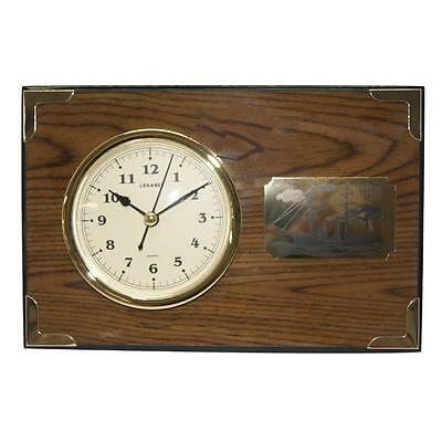 Stunning Desk Clock with engraved Antique Ship on Copper Plate (FS-QB71136)