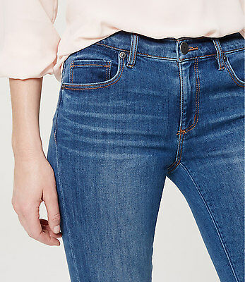 Ann Taylor LOFT Modern Sateen Skinny Jeans Pants in Authentic Indigo Wash NWT