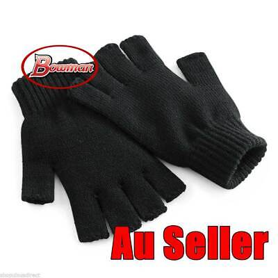 3x Black Knited Winter Fingerless Gloves Warm Winter Unisex Ski Unisex Man Kids