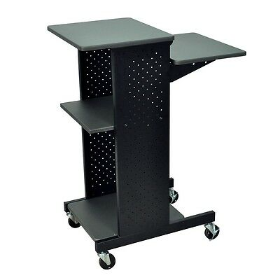 Luxor PS4000 Mobile Presentation Station Rolling Cart With Four Flat Shelves New
