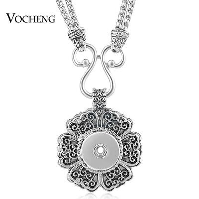 10pcs/lot Vocheng Snap Charm Necklace 18mm Flower Double Chain Jewelry NN-499*10