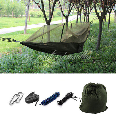 Outdoor Camping Military Bushcraft Hammock Hanging Sleeping Bed + Mosquito Net