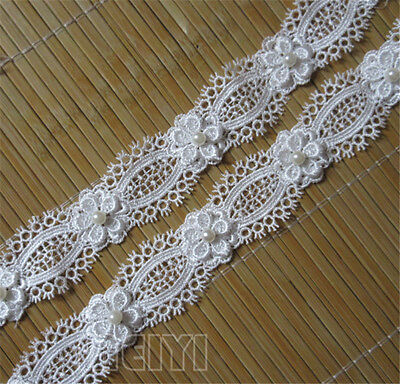 1 Yards Vintage Pearl Lace Edge Trim Wedding Bridal Dress Ribbon Sewing Crafts