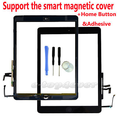 For iPad Air 1st Gen Retina Replacement Black Touch Digitizer Front Glass Screen