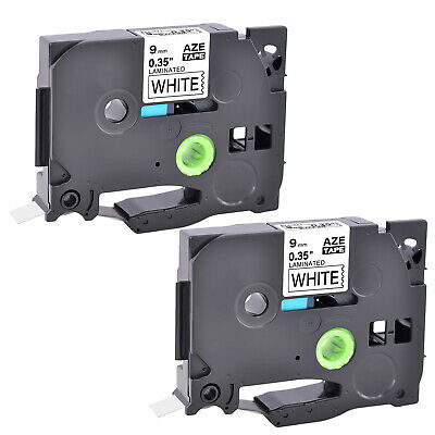 2PK TZ221 TZe221 Black on White Label Tape for Brother P-Touch PT-1230PC 3/8""