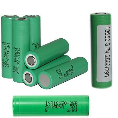 Samsung INR 18650 High Drain 3.7 25R 2500mAh 20A/35A Flat Top UK Vape Battery