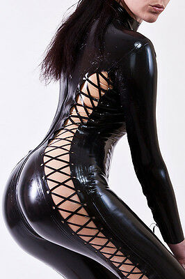 Latex Gummi Rubber Catsuit Overall Ganzanzug! mit Latex Schnrung Latex Lace-up