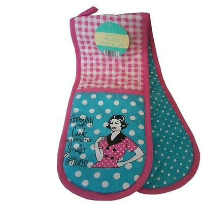 50's Style Retro Vintage Double Oven Glove & Apron 'Annoy The Cook'