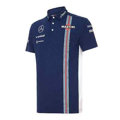 Williams Martini Racing F1 Official Mens Team Polyester Polo Shirt - 2016 - Blue