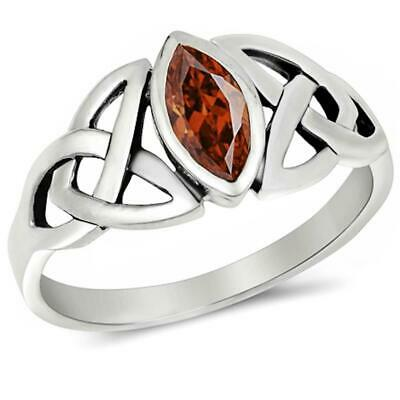 Solitaire Twisted Knot Celtic Engagement Ring Sterling Silver 1Ct Red Garnet