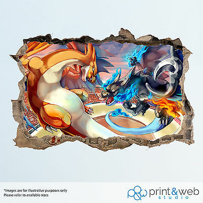 Pokemon Mega Charizard Wall Smash Decal Sticker 3D Bedroom Vinyl Kids Mural Art