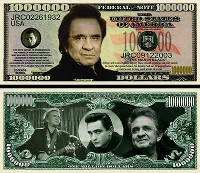 Johnny Cash Million Dollar Bill Collectible Novelty Note