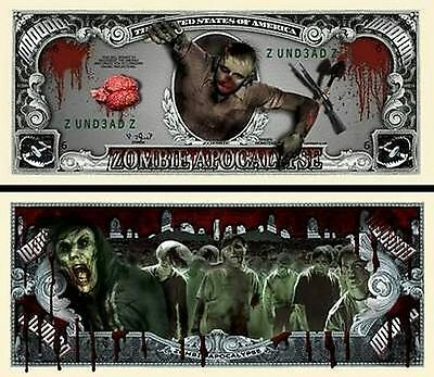Zombie Apocalypse Million Dollar Novelty Collector Bill Note